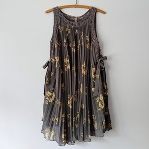 Free People Gray Yellow Floral Accordion Dress - S